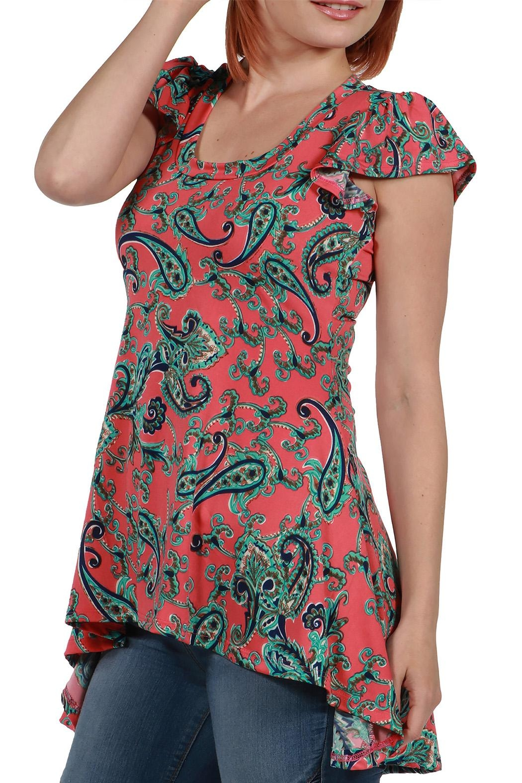 24/7 Comfort Apparel Hilo Pink Top - Front Full Image