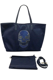 HIPCHIK  Navy Skull Tote - Front cropped