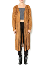 Hippie Chic Caramel Fringed Vegan Suede Jacket Caramel Fringed Jacket - Product Mini Image