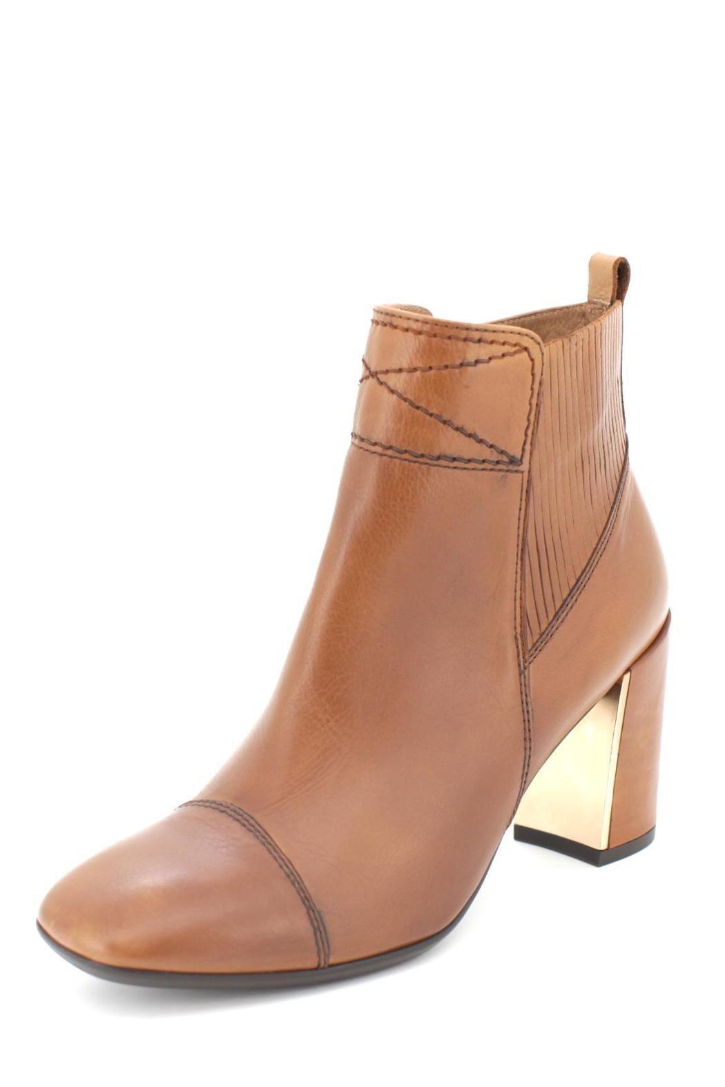 Brown Block Heel Bootie