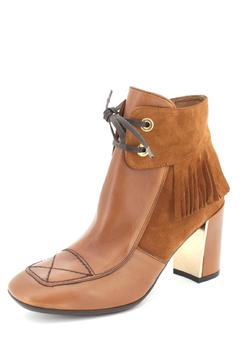 Hispanitas Fringed Brown Ankle-Bootie - Alternate List Image