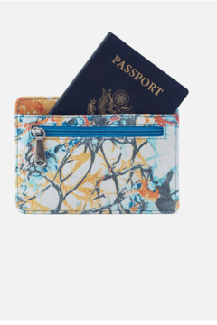 Hobo Euro Slide Summertime Abstract Leather Credit Card Wallet - Alternate List Image