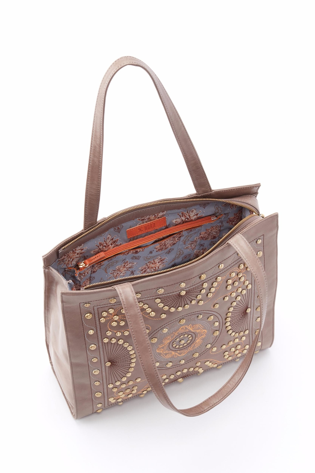 Hobo The Original Embroidered Leather Tote - Front Full Image