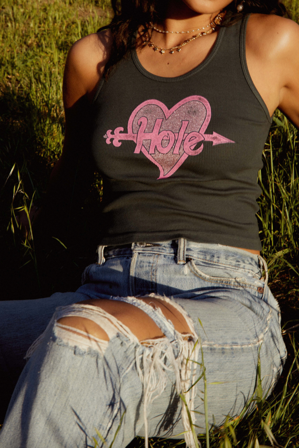 Daydreamer  Hole Miss World Ribbed Tank - Front Cropped Image