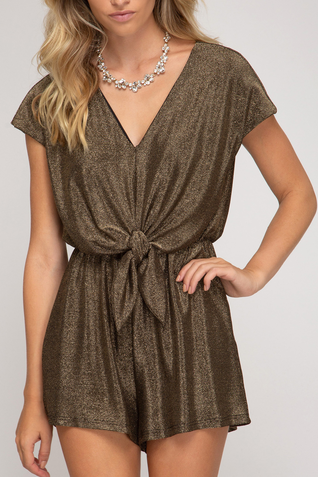 She and Sky Holiday Treats Romper - Front Cropped Image