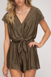 She and Sky Holiday Treats Romper - Front cropped