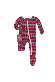 Kickee Pants Holiday Zipper Footie - Front cropped