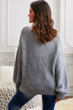 Shewin Hollow-out Round Neck Knitted Sweater - Alternate List Image