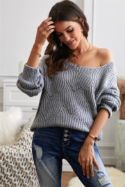 Shewin Hollow-out Round Neck Knitted Sweater - Product Mini Image