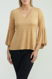 Kay Celine Holly Suede V Neck Bell Sleeve Top - Product Mini Image