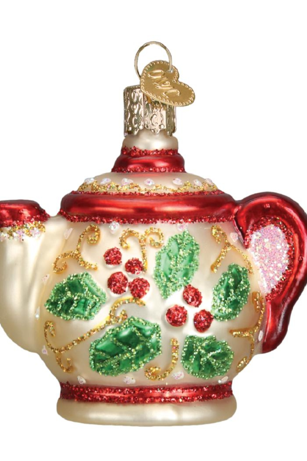 Old World Christmas Holly Teapot Ornament - Front Full Image