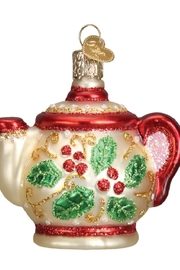 Old World Christmas Holly Teapot Ornament - Front full body