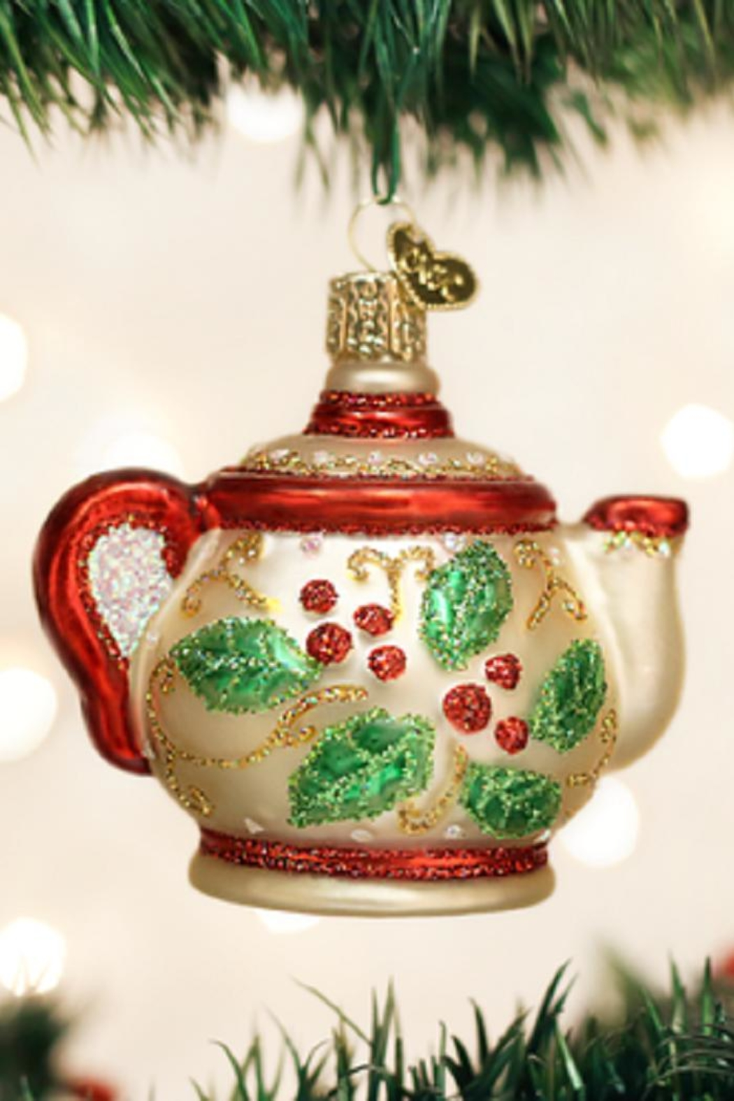 Old World Christmas Holly Teapot Ornament - Main Image