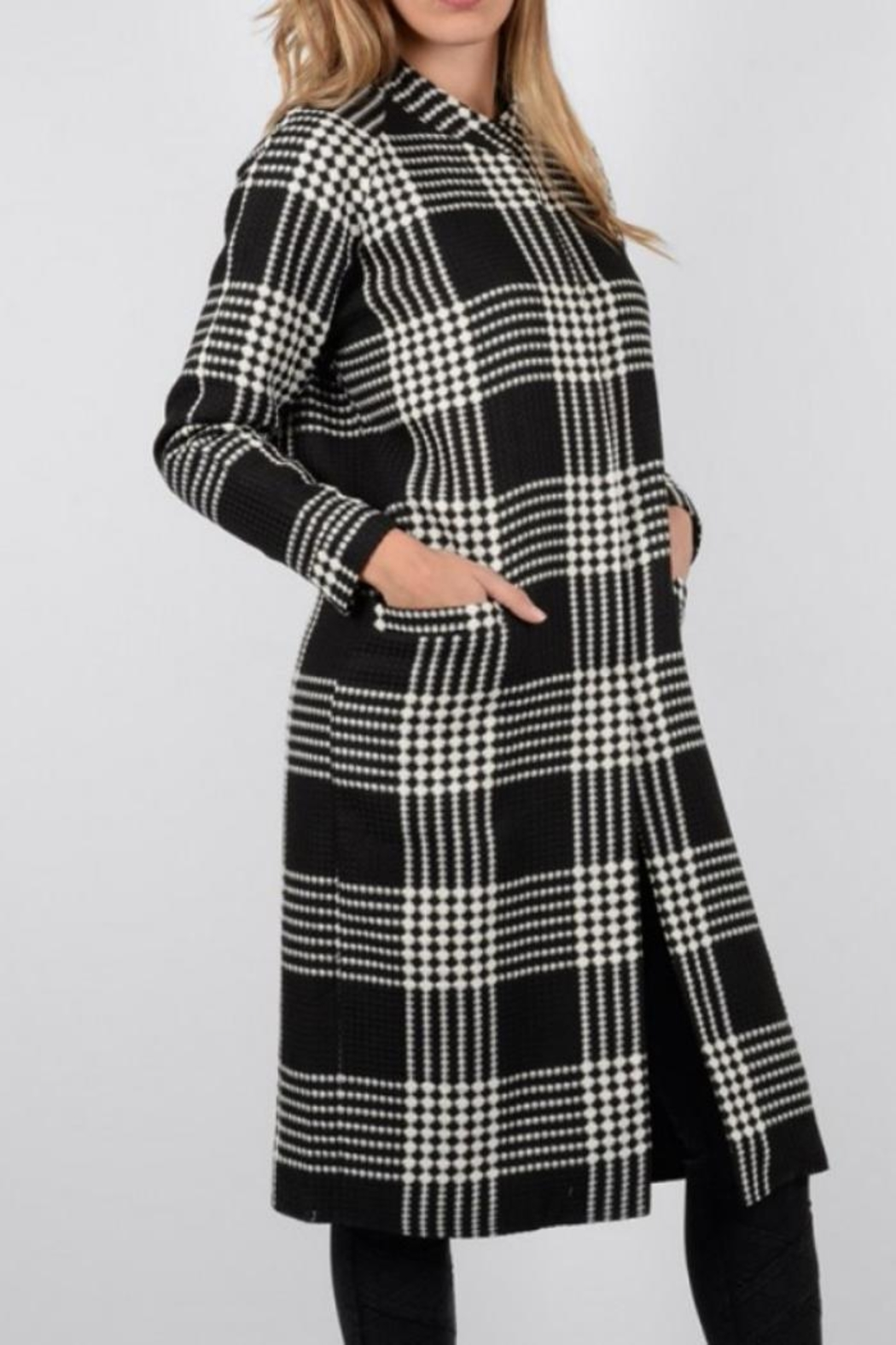 Holly Bracken Long Check Coat - Front Cropped Image