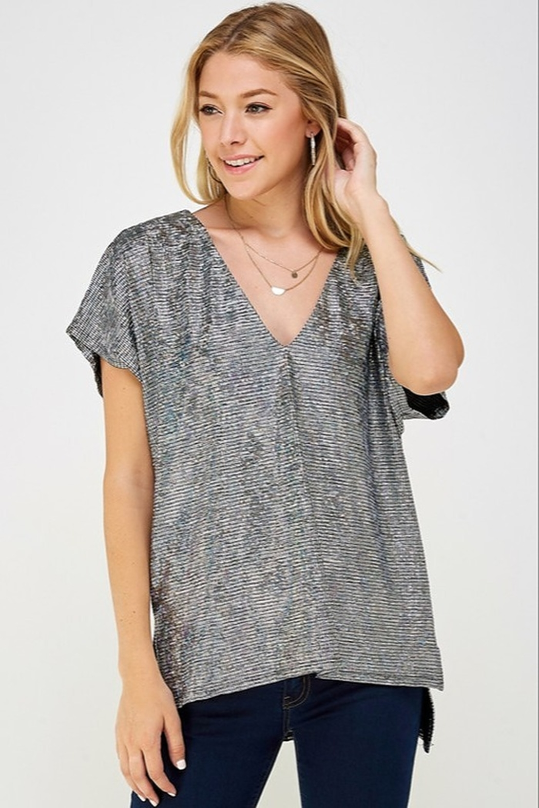 Caramela Holographic V-Neck Top - Front Cropped Image