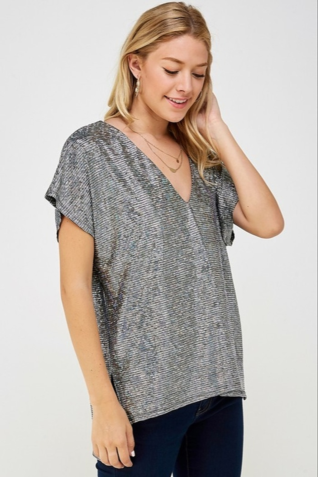 Caramela Holographic V-Neck Top - Front Full Image