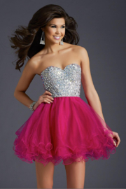 CLARISSE Homecoming Dress with crystal encrusted top - Product Mini Image