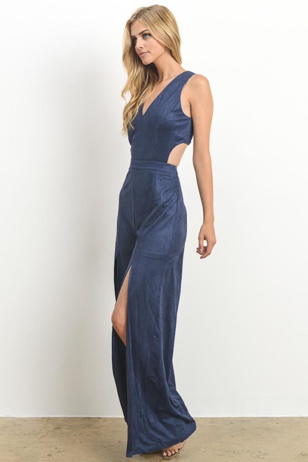 Hommage Faux Suede Jumpsuit - Back Cropped Image