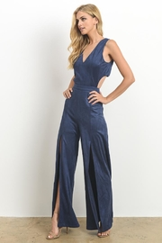 Hommage Faux Suede Jumpsuit - Front full body