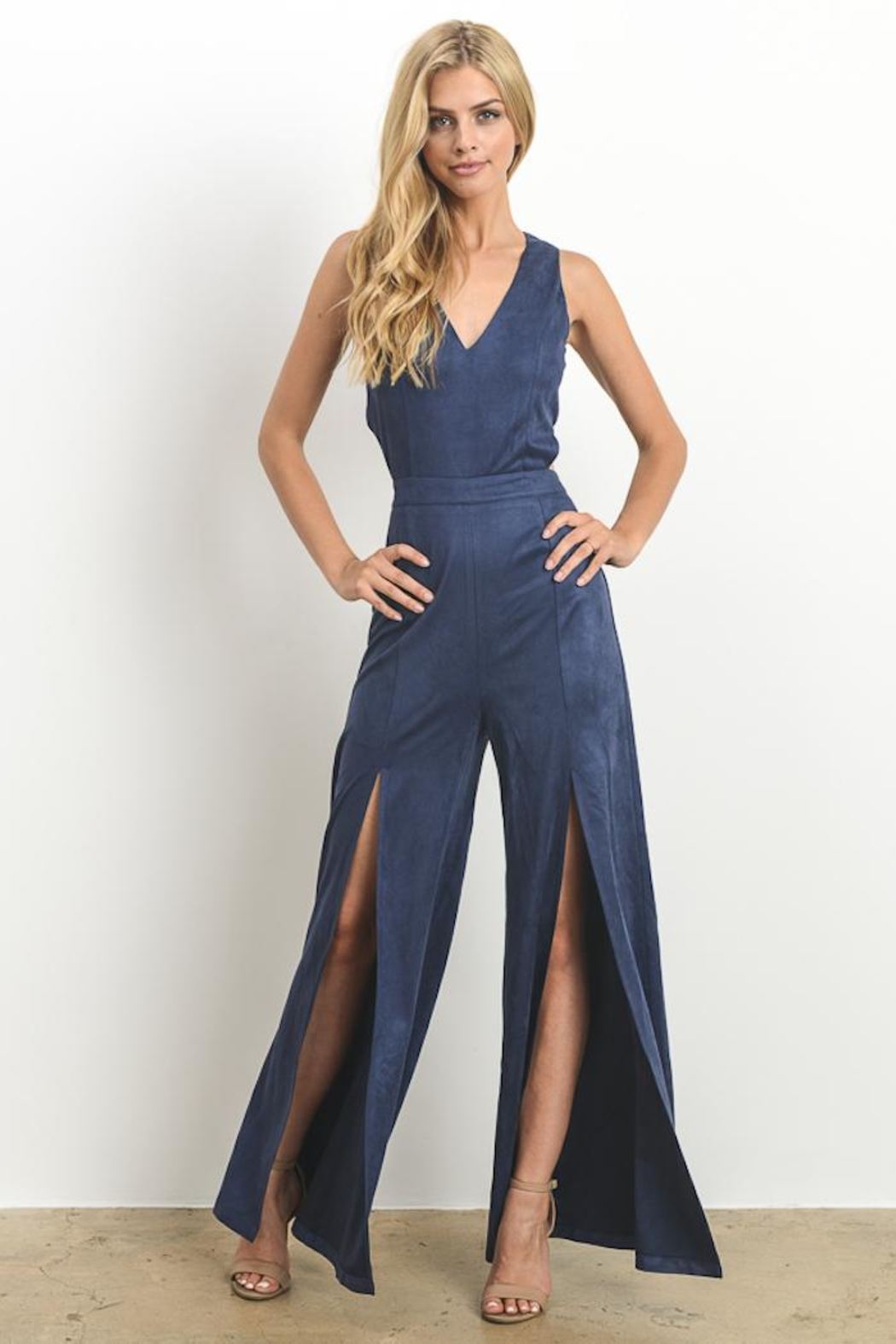 Hommage Faux Suede Jumpsuit - Side Cropped Image