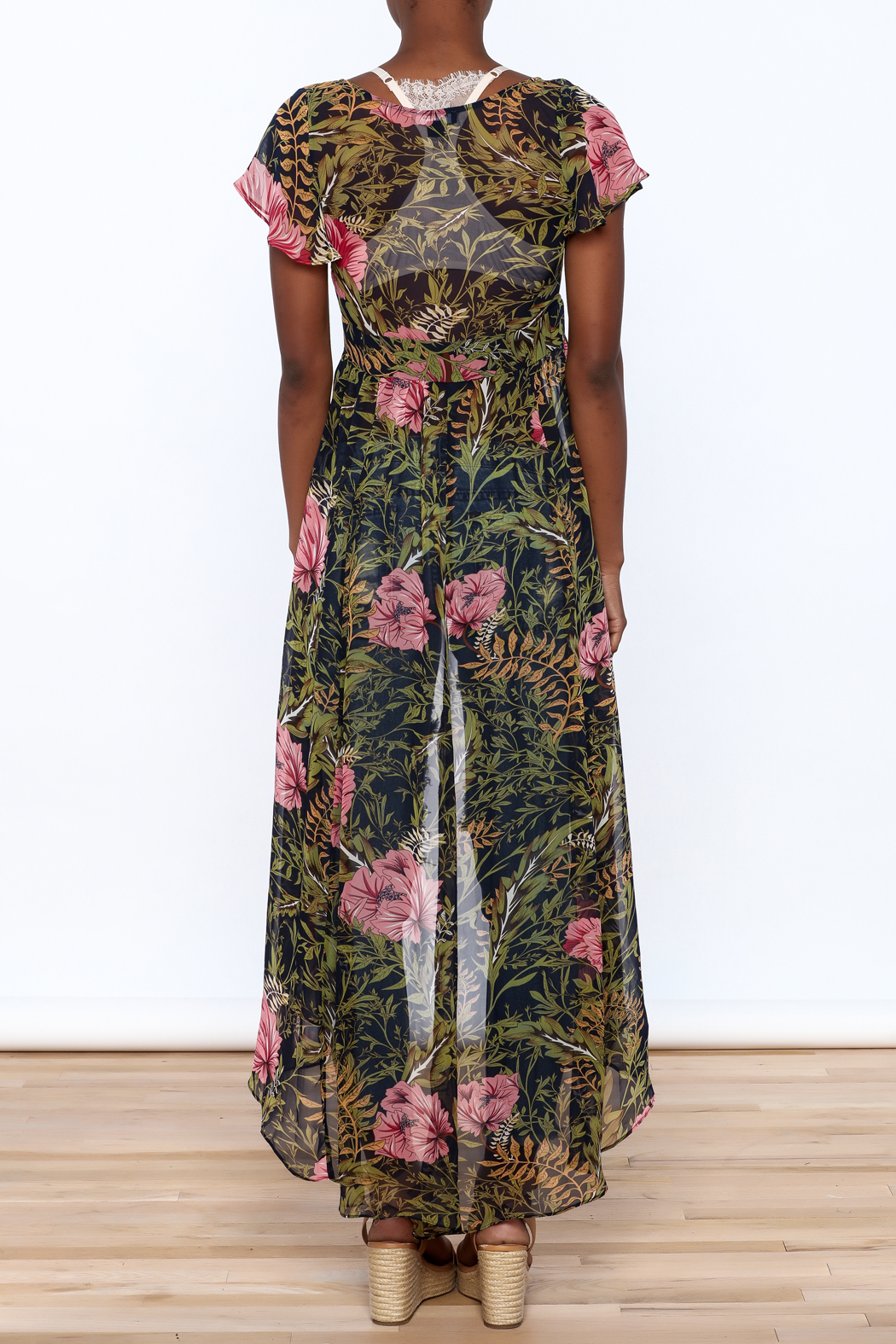 Hommage Floral Print Maxi Blouse - Back Cropped Image