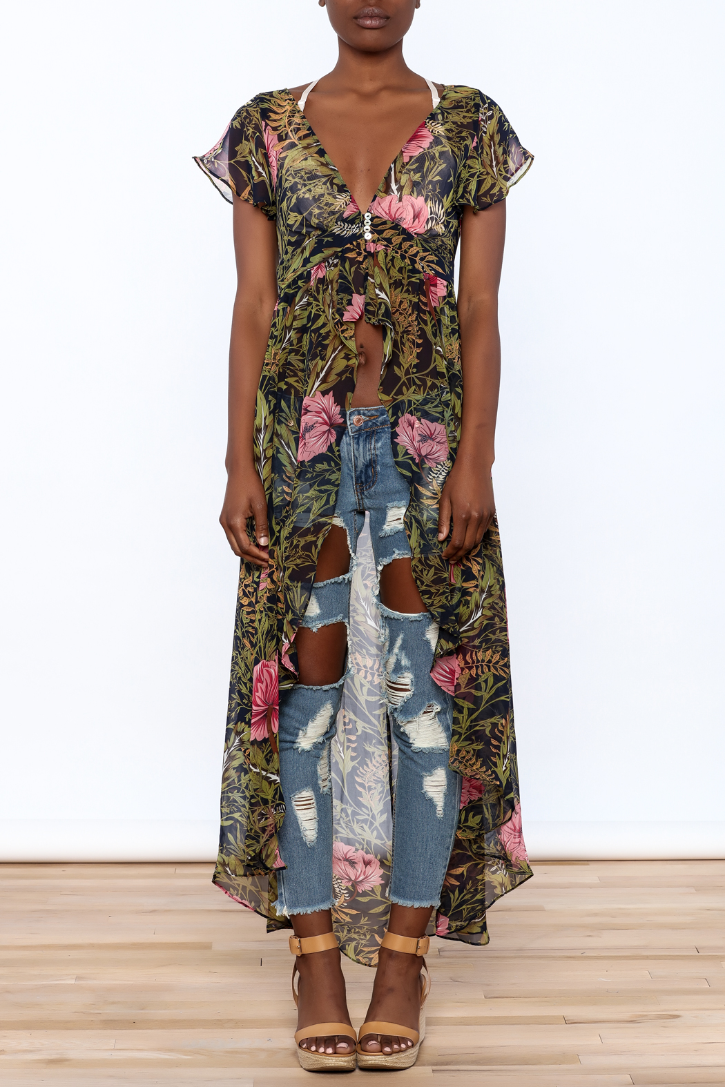 Hommage Floral Print Maxi Blouse - Front Cropped Image