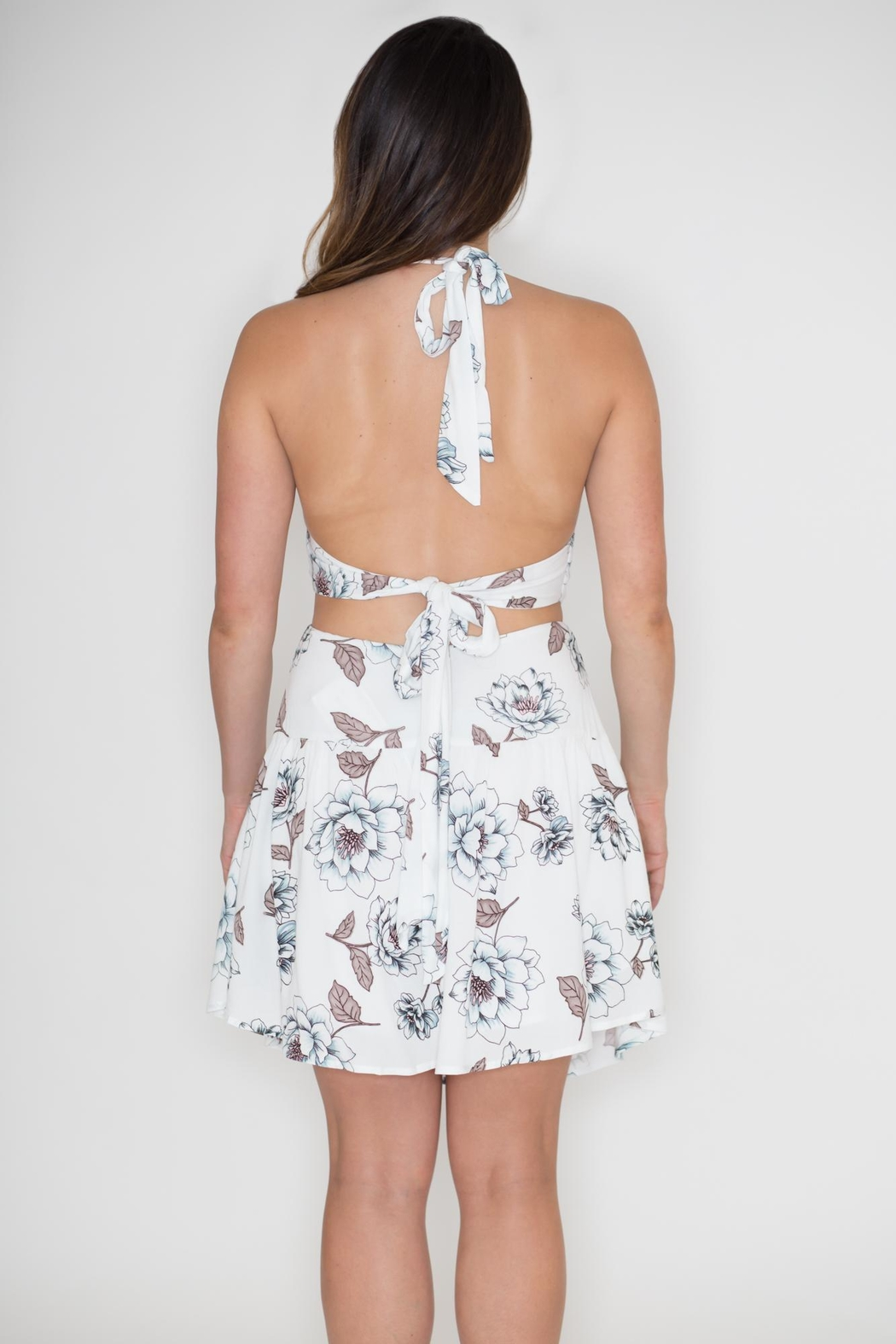 Hommage Floral Cut Out Dress - Side Cropped Image