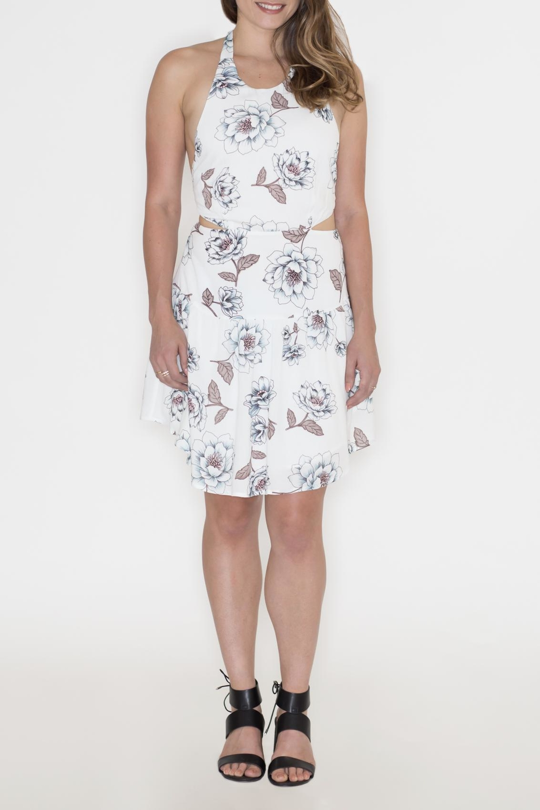 Hommage Floral Cut Out Dress - Back Cropped Image