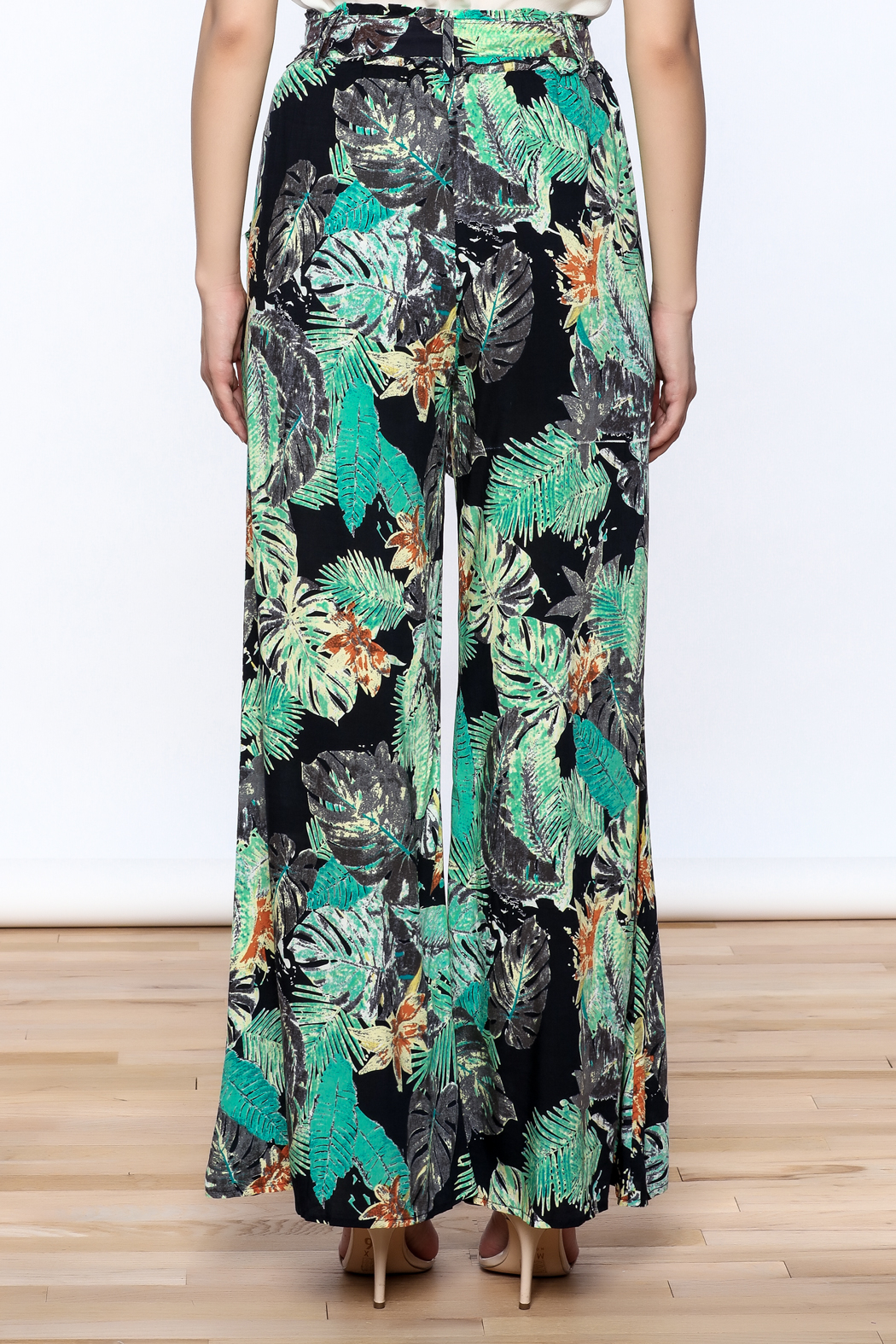 Hommage Floral Wide Leg Pants - Back Cropped Image
