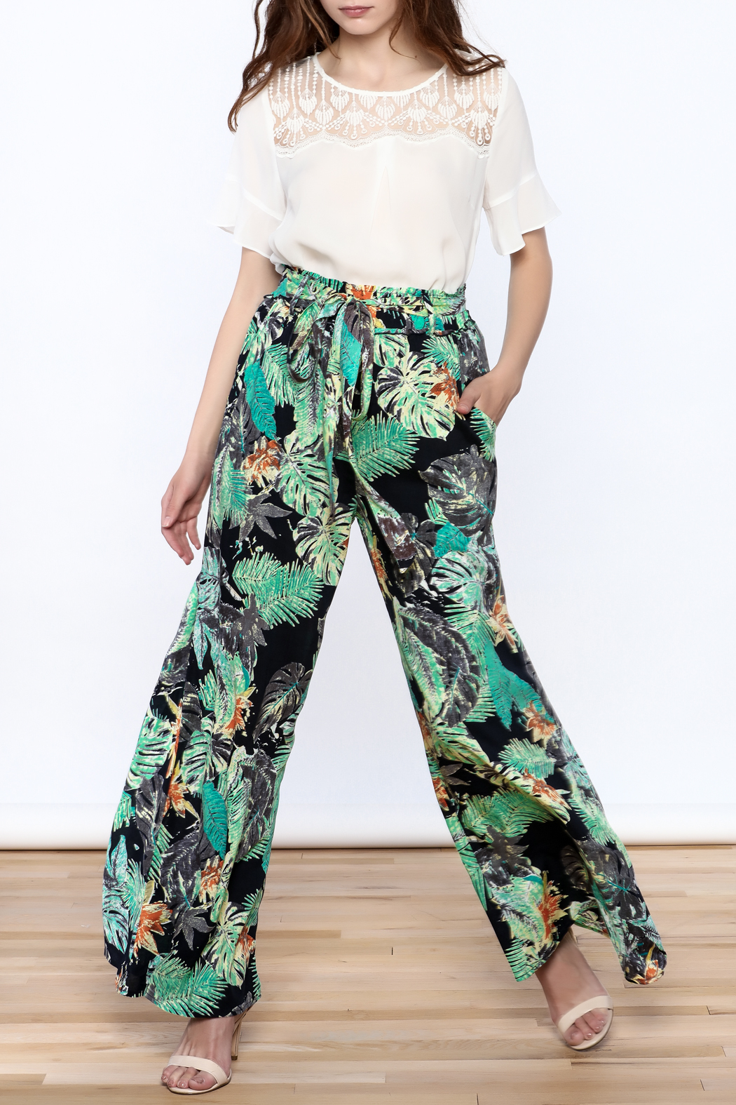 Hommage Floral Wide Leg Pants - Front Full Image
