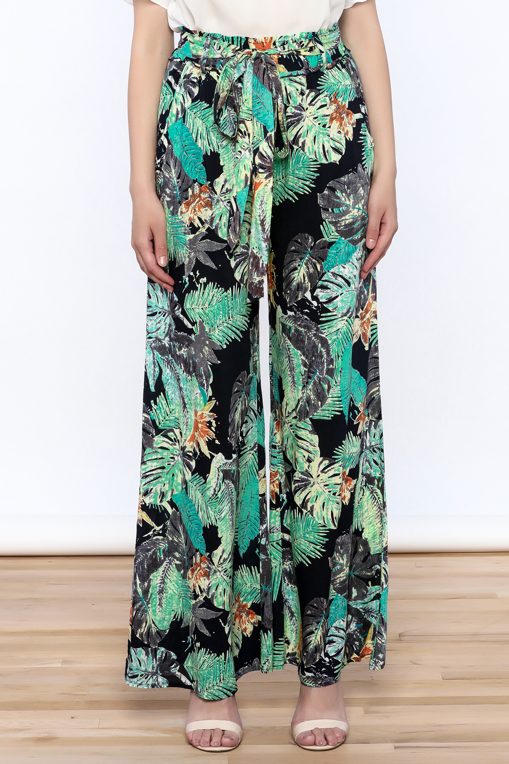 Hommage Floral Wide Leg Pants - Side Cropped Image