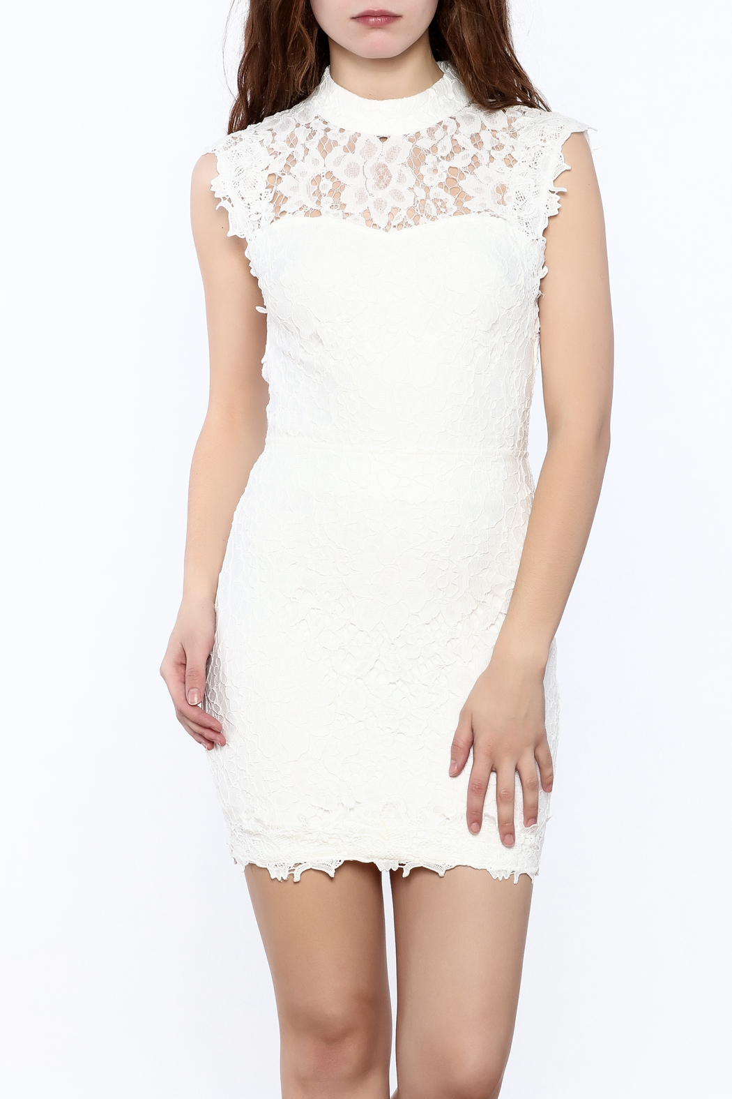 hommage high neck white lace dress from new jersey by mint