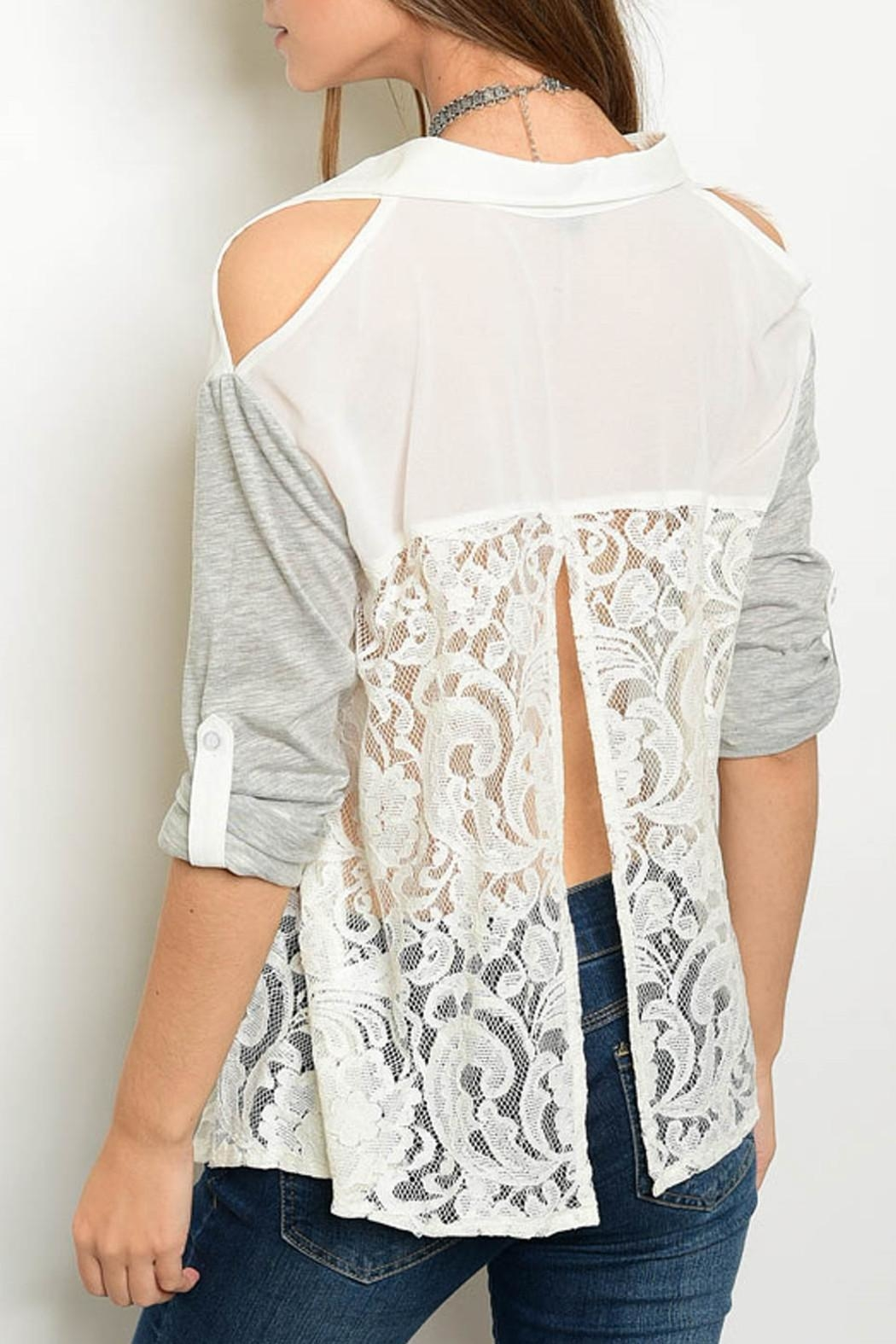 Hommage Ivory Gray Blouse - Front Full Image