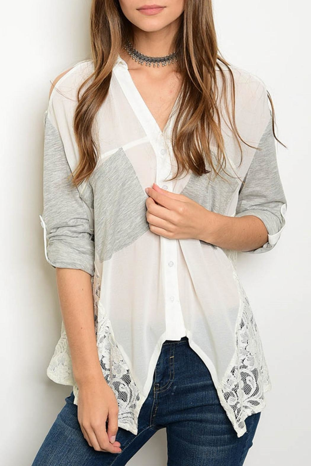 Hommage Ivory Gray Blouse - Main Image