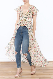 Hommage Peach Floral Maxi Blouse - Product Mini Image