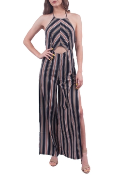Hommage Navy Striped Jumpsuit - Product List Image