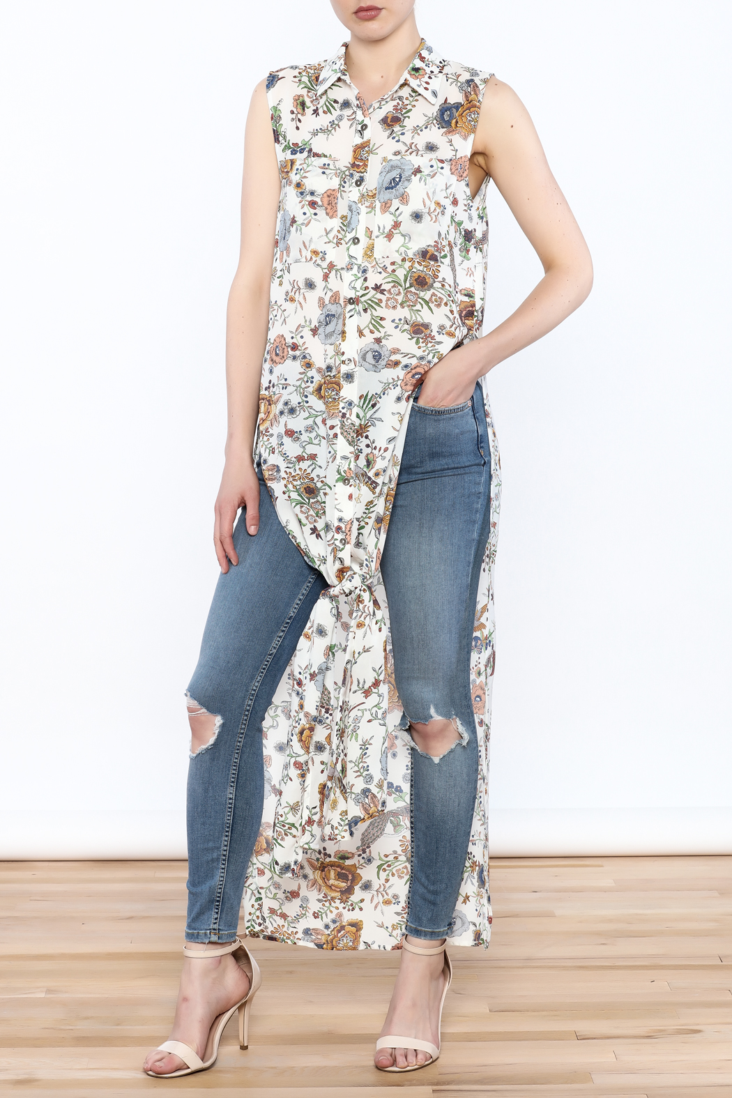 Hommage Floral Printed Maxi Top - Main Image
