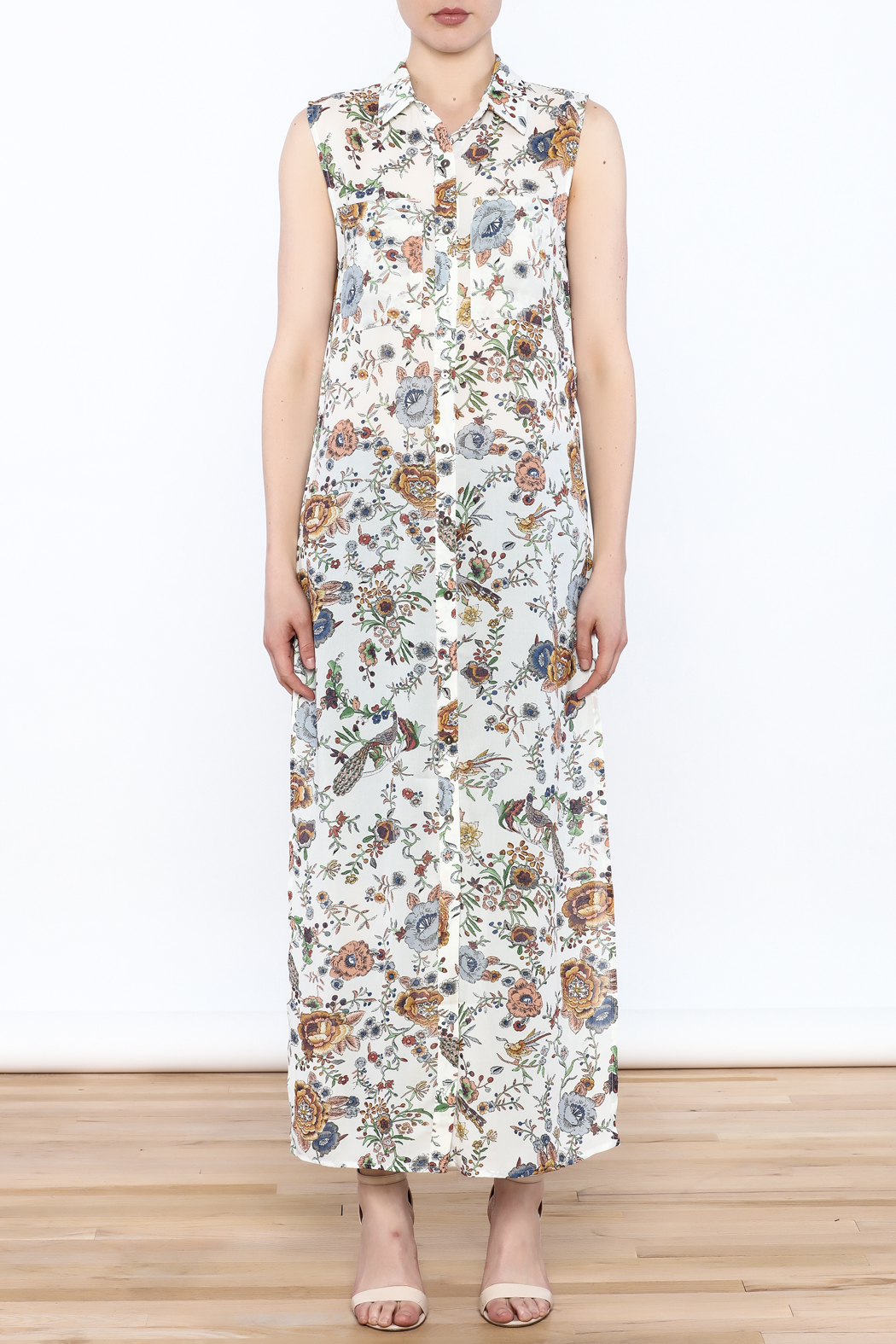 Hommage Floral Printed Maxi Top - Front Full Image