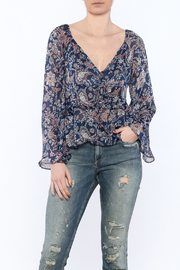 Hommage Navy Paisley Print Blouse - Product Mini Image