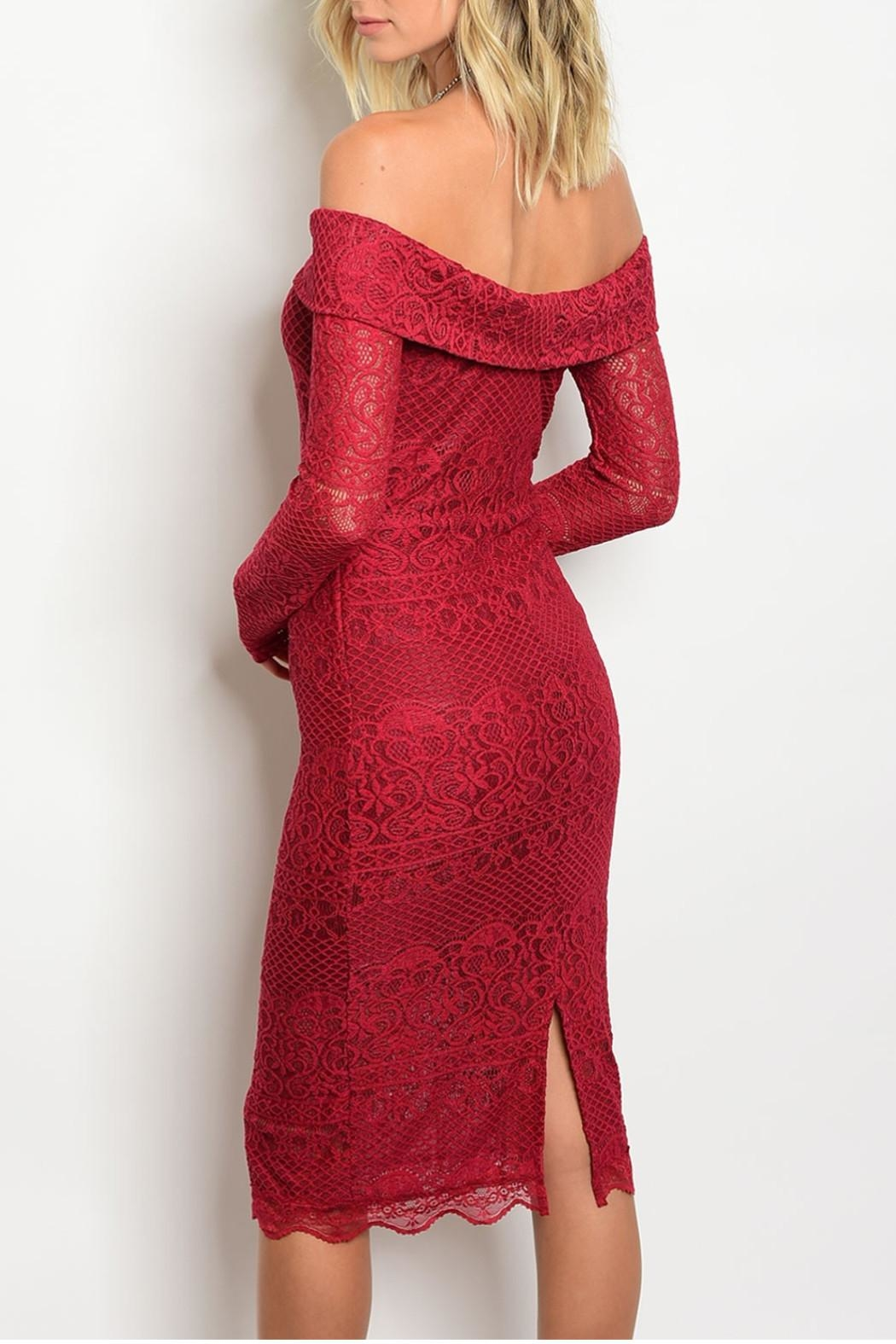 Hommage Red Lace Dress - Front Full Image