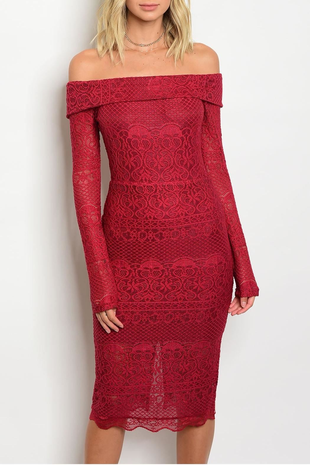 Hommage Red Lace Dress - Main Image