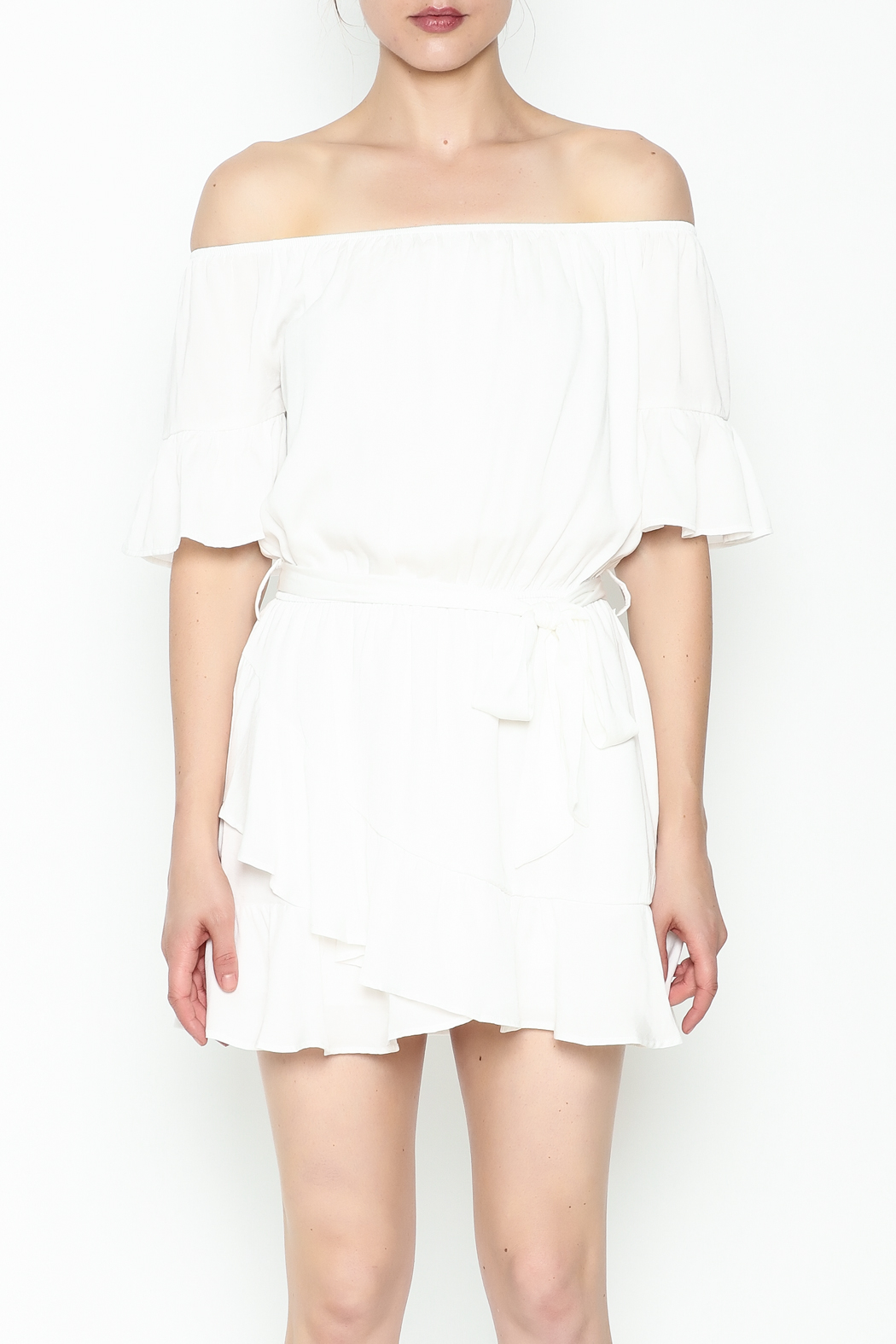 Hommage Ruffle Dress - Front Full Image