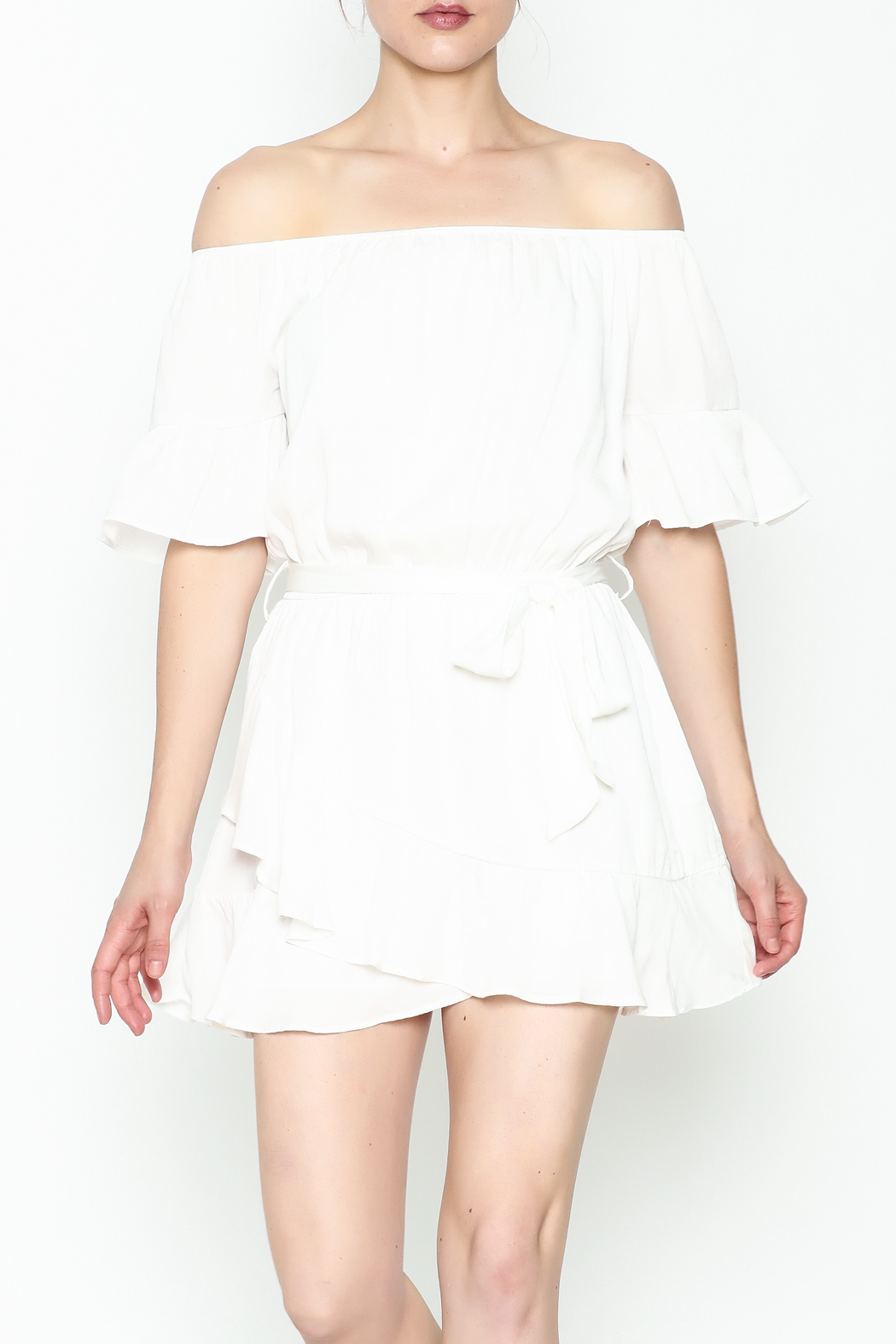 Hommage Ruffle Dress - Front Cropped Image