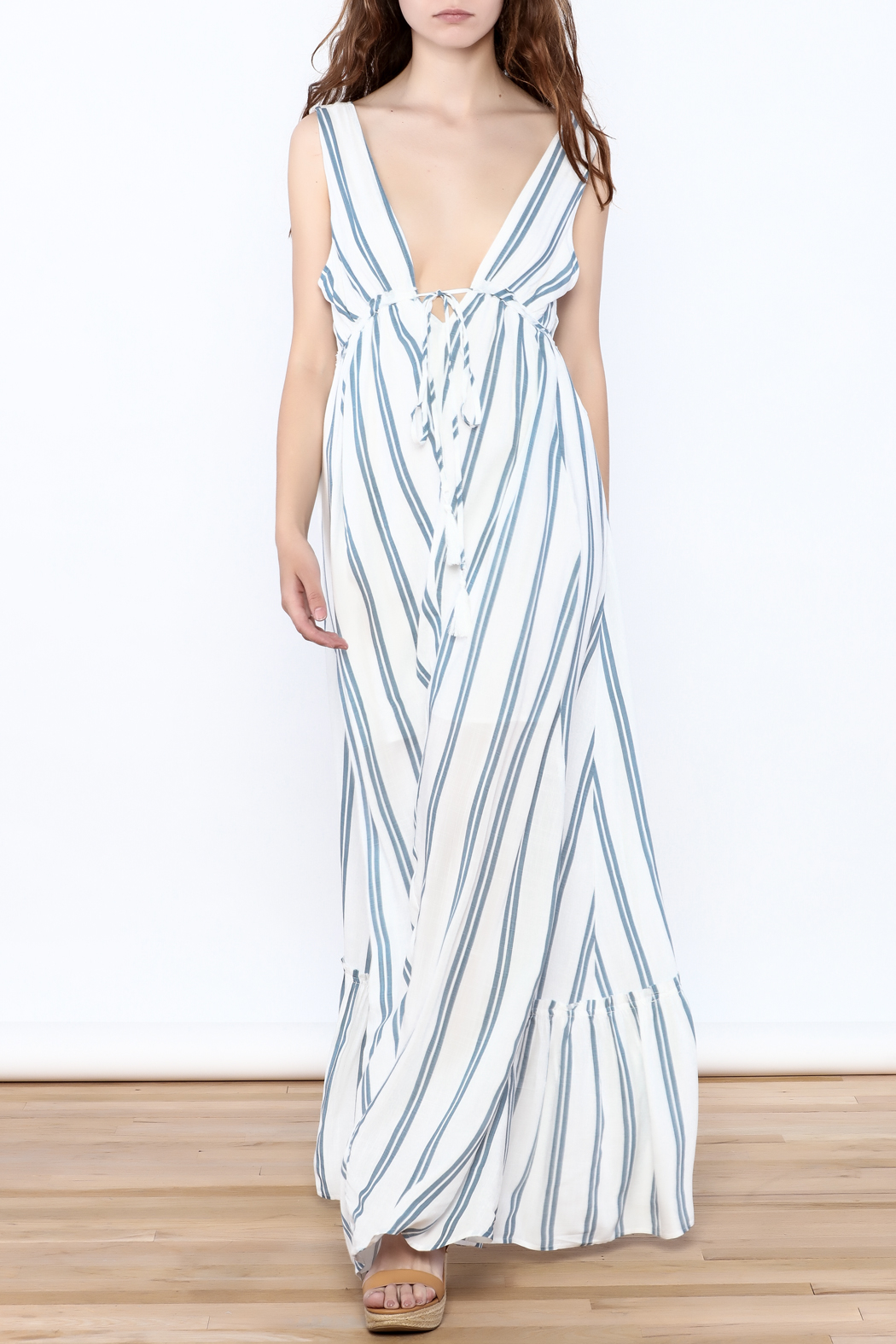 Hommage Stripe Flowy Maxi Dress - Front Full Image