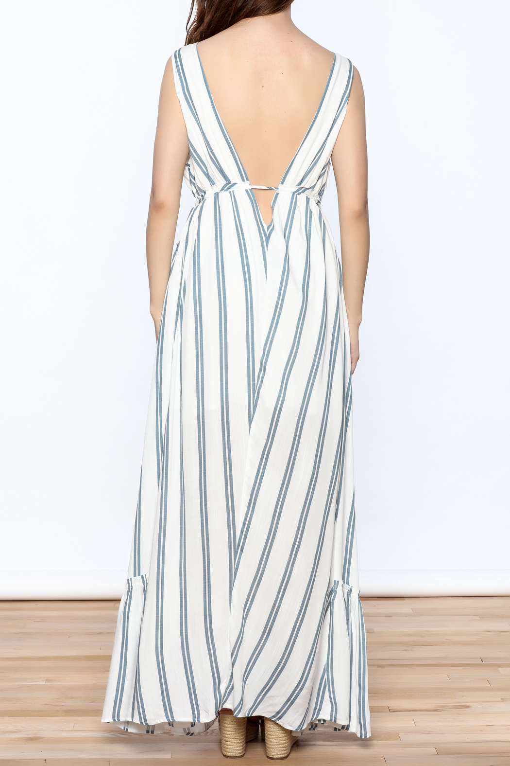 Hommage Stripe Flowy Maxi Dress - Back Cropped Image