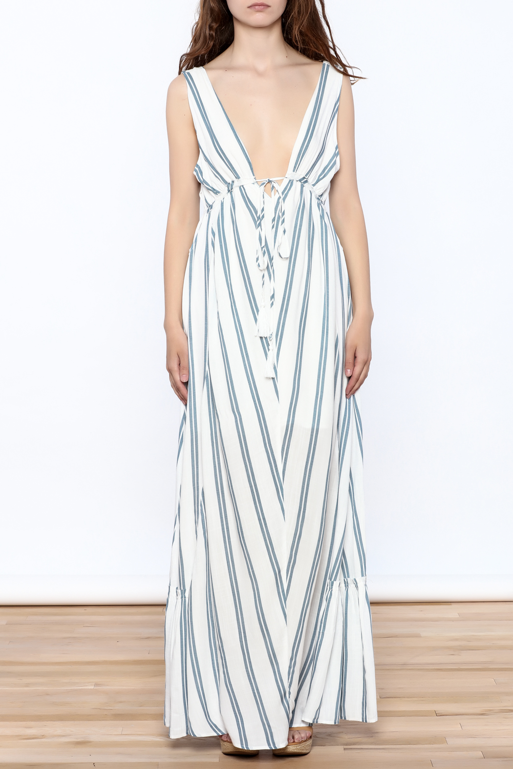 Hommage Stripe Flowy Maxi Dress - Front Cropped Image