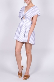Hommage Striped Cutout Romper - Front full body