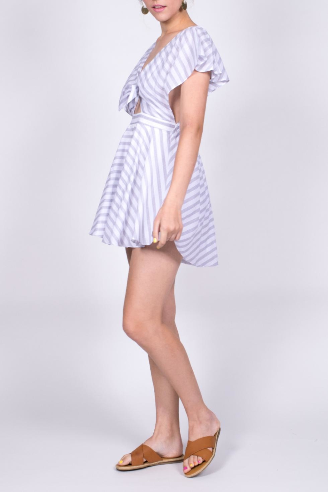 Hommage Striped Cutout Romper - Side Cropped Image