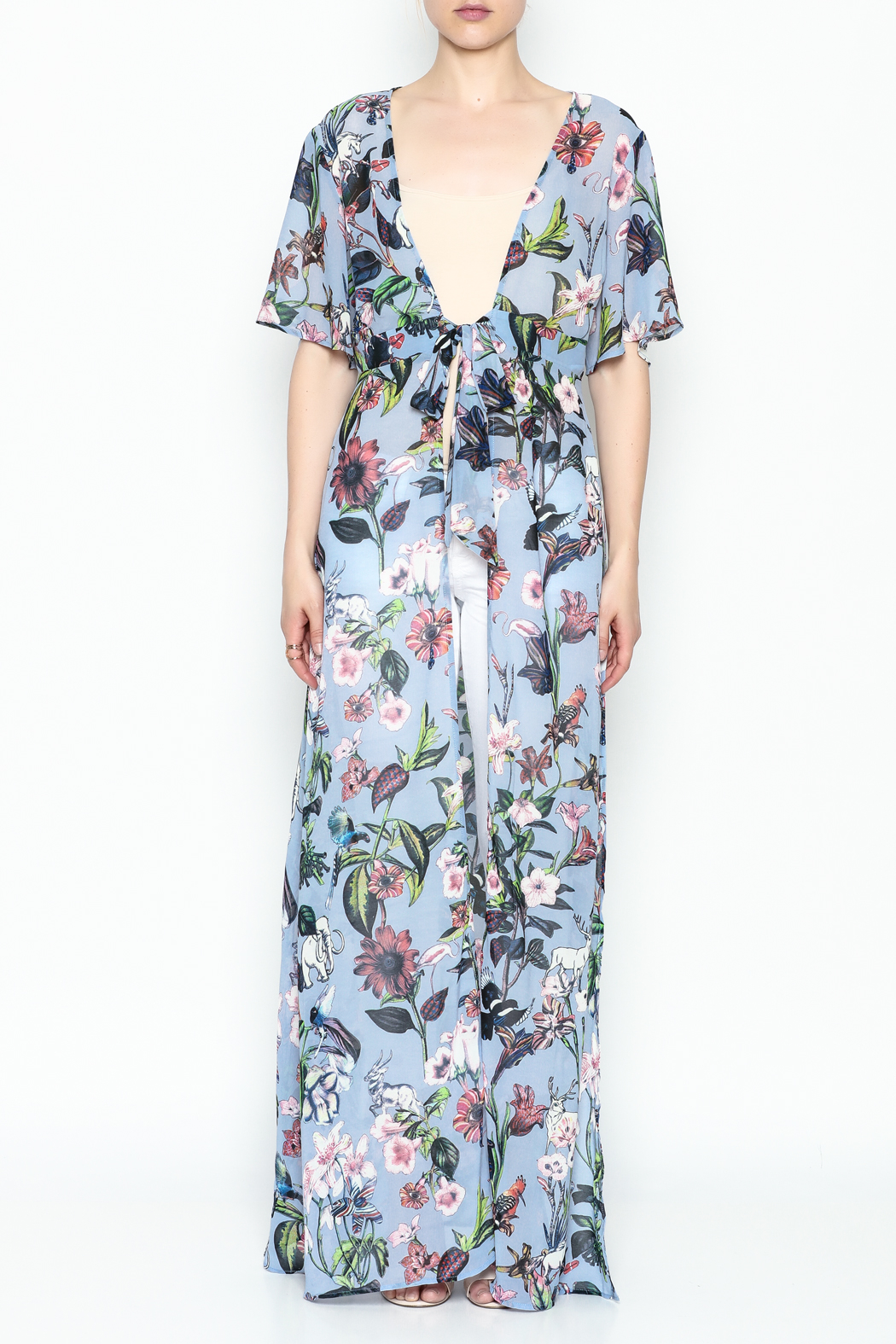 Hommage Tie Maxi Top - Front Full Image