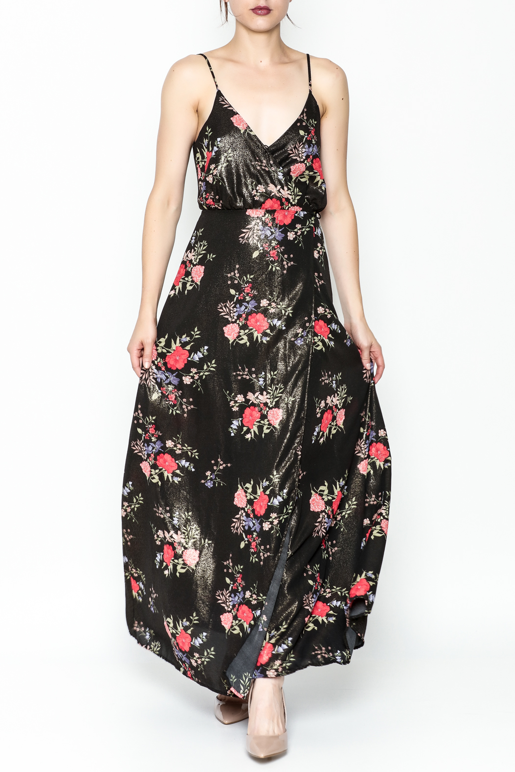 honey belle Floral Metallic Maxi Dress - Front Cropped Image